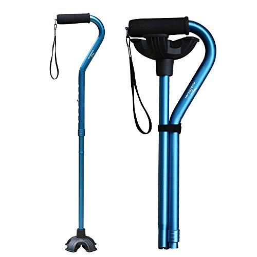 KingGear Adjustable Cane for Men & Women - Lightweight & Sturdy Offset Walking Stick - Mobility Aid for Elderly, Seniors & Handicap (Blue)