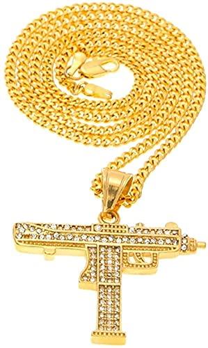 NC198 Collar con Colgante de Pistola Hiphop para Hombres, Mujeres, Color Dorado, Colgantes de Diamantes de imitación con Diamantes de imitación, Cadena Cubana de Oro de Calidad Fina