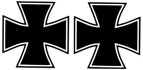2 Iron Cross / Eiserne Kreuz- Aufkleber Autoaufkleber Wandtattoo 10x10cm B108-V (schwarz)