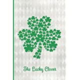 The Lucky Clover: The Clover Chronicle – CONFIDENTIAL: Large Clover Shape with Dozens of Smaller Kelly Green Clovers with a Diamond on an Elegant Silvery White Pattern 6x9 Notebook