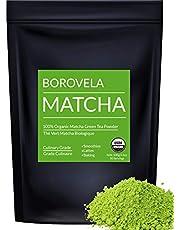 Organic Matcha Green Tea Powder - Culinary Grade USDA Certified - Natural Green Superfood For Smoothies Lattes and Baking - Borovela 100g 3.5oz