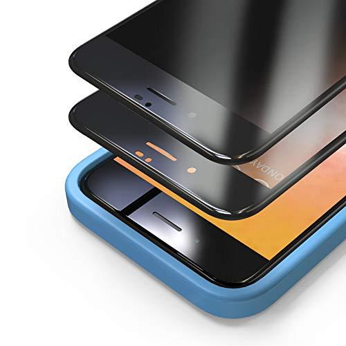 Bewahly Privacy Panzerglas Schutzfolie für iPhone 7 Plus/8 Plus [2 Stück], Full Screen Sichtschutz Panzerglasfolie Blickschutzfolie Displayschutzfolie Anti-Spy Glas Folie mit Positionierhilfe, Schwarz
