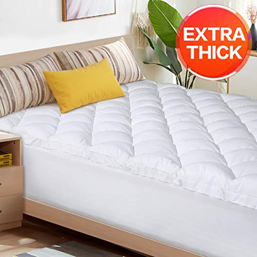 Find Discount Abakan Queen Mattress Topper Extra Thick Mattress Pad Cover Super Soft Breathable Down...