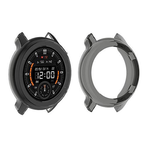 sciuU Cover Protettiva compatible con Amazfit GTR 47mm, [2 Pezzi] TPU Case, Custodia Flessibile Morbida Copertura Cornice Specificamente per Smartwatch GTR 1 Generazione – Nero