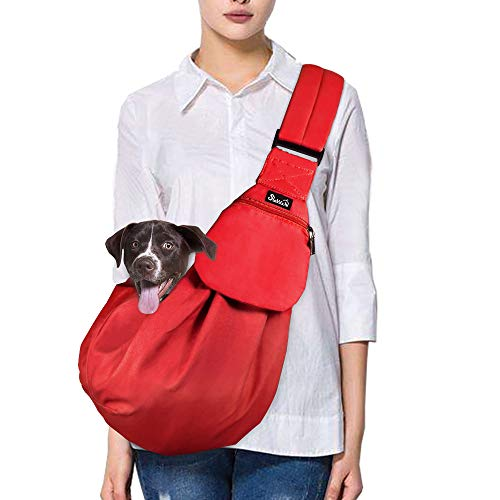 SlowTon Pet Sling, Hand Free Dog Carrier Adjustable Padded Strap Tote Bag Breathable Cotton Shoulder Bag Front Pocket Safety Belt Carrying Small Dog Cat Puppy Machine Washable