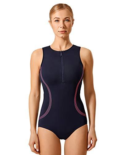 SYROKAN Donna Costume da Bagno di Un Pezzo Sportivo Atletico Zip Frontale Blu Navy 38