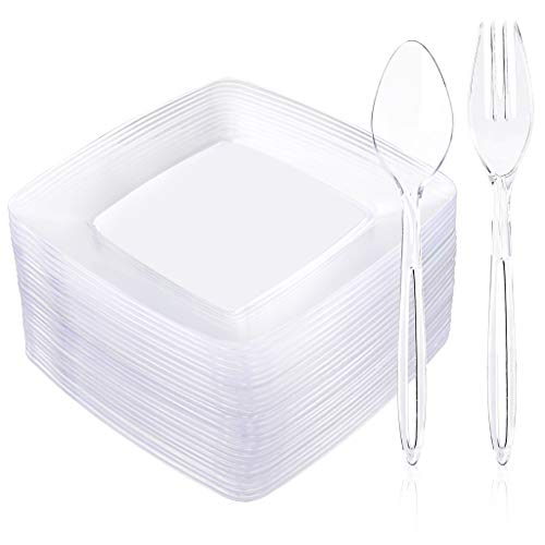 Liacere 25Pieces 6inch Square Small Disposable Dessert Plates - 25 Pieces Appetizer Forks and 25 Pieces Plastic Dessert Spoons Perfect for Wedding/Party