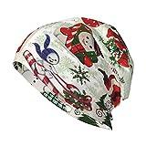 LAOLUCKY Gorro Slouchy Beanie Sombrero de moda con calavera, unisex, para correr, gorro de invierno, Árbol de Navidad vintage muñeco de nieve alce negro, Talla única
