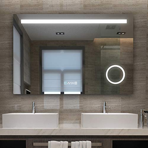 LISA Badspiegel 70x100cm mit Beleuchtung LED Badezimmer Wandspiegel kaltweiß Lichtspiegel mit 3-Fach Vergrößerung Knopfschalter Beschlagfrei Uhr A++