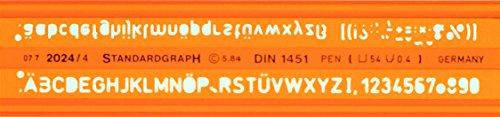 Graphoplex GXST2024/4 - Regla escolar con silueta de números y letras (5 mm), color naranja