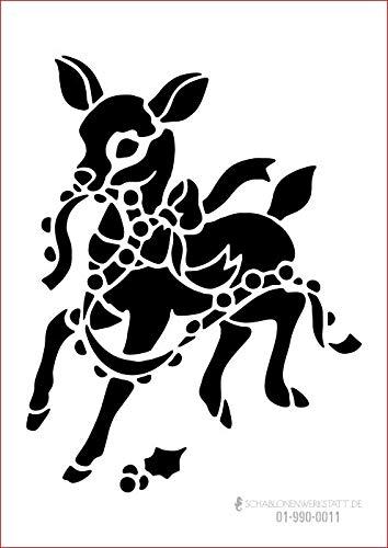 graphits Schablone Weihnachten Bambi, 01-990-0011 Fensterschablone, Dekoschablone, Größe anpassbar