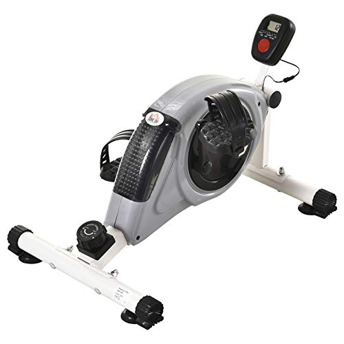 HOMCOM Heimtrainer, Mini Bike, Pedaltrainer, Trainingsrad mit LCD-Display, 8-stufiger Magnetwiderstand, Stahl, Grau, 40 x 62 x 38 cm
