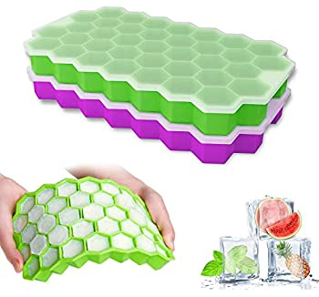 Ice Cube Trays with Lids 2 Pack Small Food Grade Silicone BPA Free for Freezer Flexible Easy-Release Stackable Ice Cube Molds