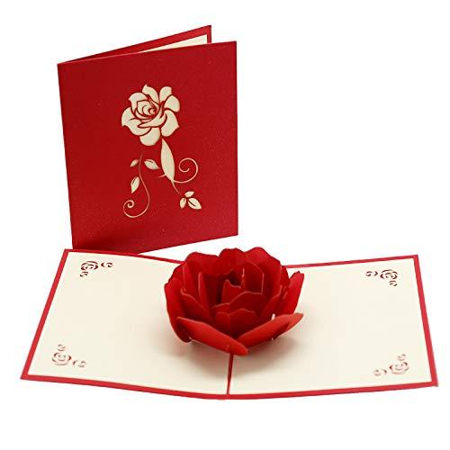 Tarjeta de felicitación emergente 3D, Tarjeta de flores 3D para novia Novio Madre Padre Hija Hijo Abuela Abuelo (rosa)