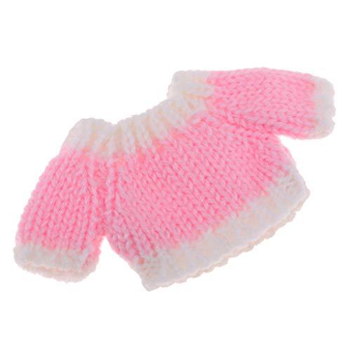D DOLITY Modische Puppenkleidung Pullover Gestrickte Oberteil Für OB11 Mini Blythe Puppe Dress Up - Rosa