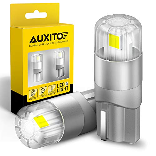AUXITO 194 LED Bulbs 6000K White Interior Car Lights 168 2825 W5W T10 Error Free LED Replacement Bulbs for Dome Map Door Courtesy Trunk Parking License Plate Lights(Pack of 2)