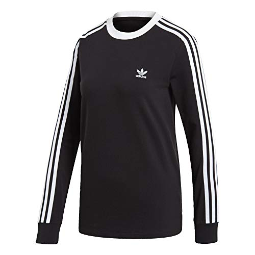 adidas Originals Women's 3-Stripes Long Sleeve Tee, black, X-Large