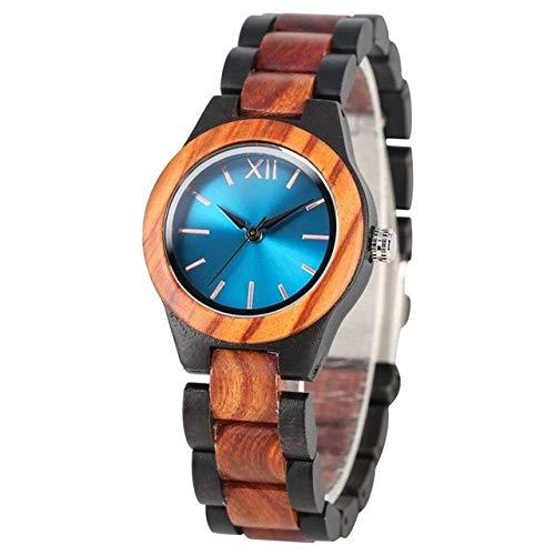 Reloj de Madera Reloj de Madera Zafiro único Relojes de Madera Mano Hecho a Mano Cuarto de Madera Reloj de Cuarzo Relojes para Mujer Reloj de Vestido de Mujer Reloj de Bolsillo (Color : Blue Dial)