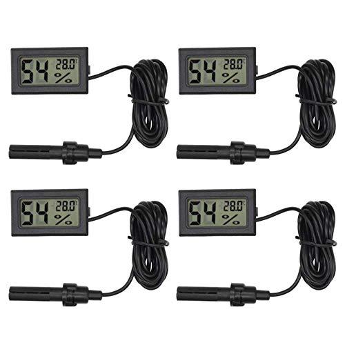 Aideepen Mini-LCD-Digital-Temperatur-/Luftfeuchtigkeitsthermometer für den Außenbereich, Hygrometer, Sonde, 4 Stück