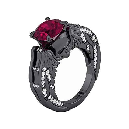 Dividiamonds - Anillo Solitario de Compromiso con Calavera de rubí roja y Acabado en Oro Negro de 18 Quilates para Mujer