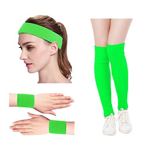 KIMBERLY S KNIT Women 80s Neon Pink Retro for Running Workout Headband Wristbands Leg Warmers Set (Free, Green)
