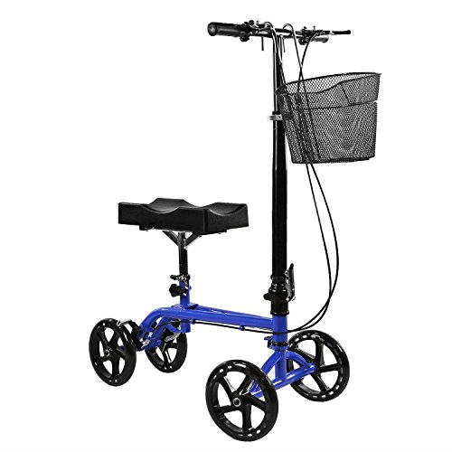 Clevr Medical Foldable Adjustable Steerable Knee Walker Scooter with Dual Brake System & Basket for Foot Injuries or Surgery, Alternative to Crutches, Blue