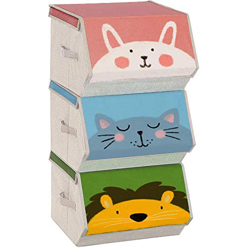 SONGMICS Caja almacenaje Tela Infantil, Caja organizadora Plegable, Juego de 3, Apilables con Asas, Tapa magnética, para habitación de niños, Tema de Animales, Rosa, Azul, Verde y Gris RFB760P01