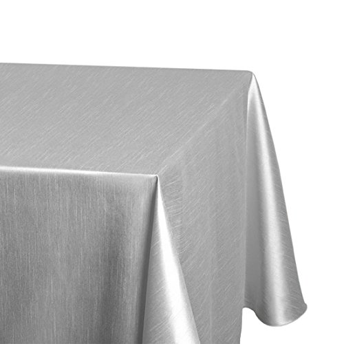 LinenTablecloth 228,6x 335,3cm. Shantung-Seide Tischdecke Silber