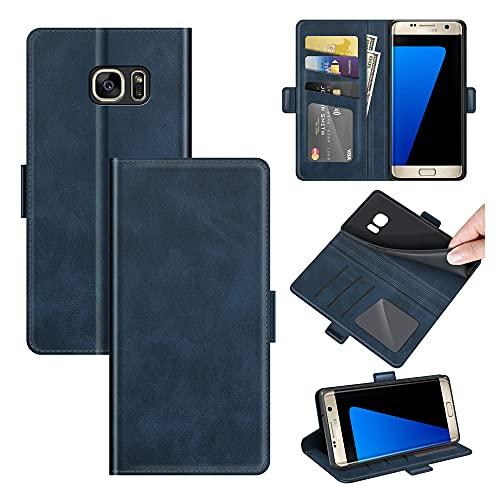 AKC Funda Compatible para Samsung Galaxy S7 Edge Carcasa Caja Case con Flip Folio Funda Cuero Premium Cover Libro Cartera Magnético Caso Tarjetero y Suporte-Azul