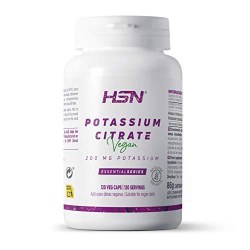 Citrato de Potasio de HSN | Potassium Citrate | 600mg de Potasio Elemental por Dosis Diaria | Alta Concentración | Vegano, Sin Gluten, Sin Lactosa, 120 Cápsulas Vegetales