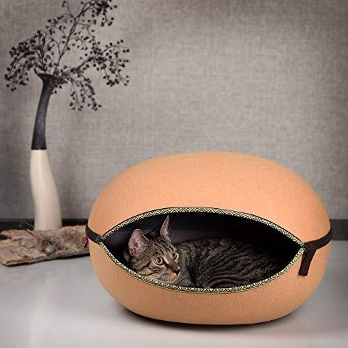 CanadianCat Company ® | Katzenhöhle, Katzennest in Camelfarben - das Katzenbett mit Stil