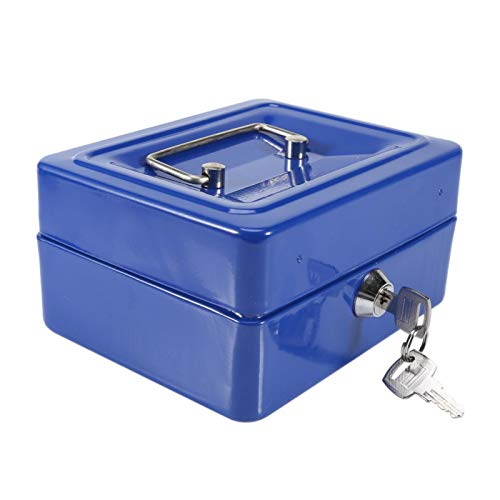 Caja de seguridad de diseño de 6 compartimentos Caja de seguridad, para almacenamiento de joyas(Small blue, 12)