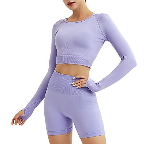 Juego de Top Leggings para Gym Yoga Pilates, Lady Workout Outfits 2 piezas de chándals inconsútil cintura alta sexy culo elevador corto pantalones cortos de manga larga yoga camisetas pulgar hueco rop