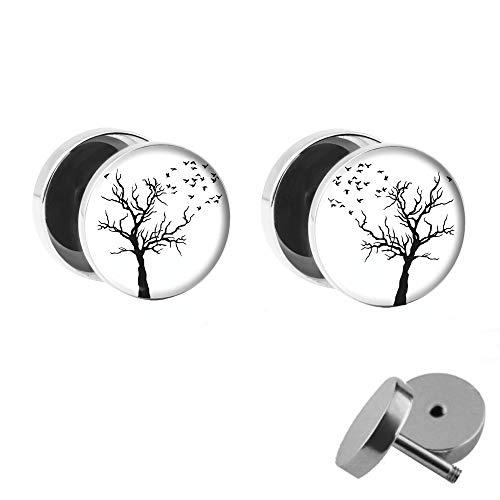 Treuheld® | Lebens-Baum mit Blättern | Ohrstecker Set | Tree of Life Fake Plugs mit Gewinde zum Schrauben | 10mm | Chirurgenstahl Ohrringe Stecker