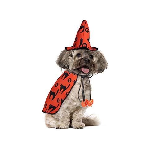 POPETPOP Hund Halloween Kostüme - Haustier Zauberer Kostümumhang mit Hexenhut Welpe Katze Halloween Kleidung Outfits
