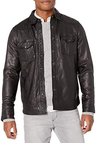 Lucky Brand Men s Leather Western Shirt Jacket Black S product image