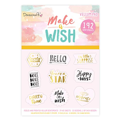 Dovecraft make a wish 6 x 6 Vellum quote Pad, multicolore, 1