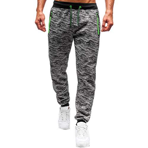 Pantalones de algodón y lino para hombre, de corte holgado, ligeros, elásticos, para yoga, playa, con bolsillos y cordón, moda para correr, para ciclismo, baloncesto, fútbol gris XL