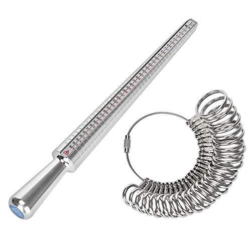 YTTX - Juego de espigas medidoras de medición de anillos y mandril de medición de anillos estándar de Reino Unido, UK, UE, Estados Unidos y Suiza