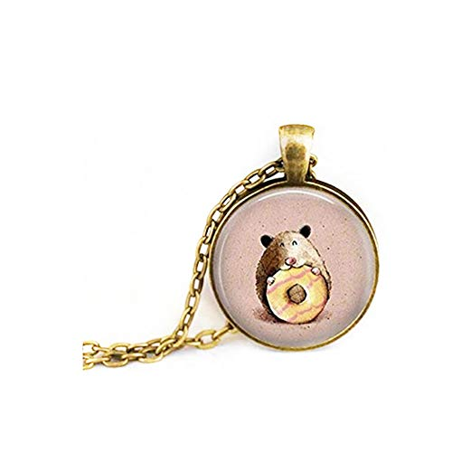 Collar de hámster para casa de elfo, bonito collar para animales, collar de donut, collar para mascotas, joyería de cristal cúbico, hecho a mano