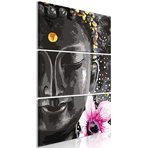 murando - Cuadro en Lienzo Buda 90x135 cm - Impresión de 3 Piezas Material Tejido no Tejido Impresión Artística Imagen Gráfica Decoracion de Pared - Oriente Abstracto Zen p-A-0030-b-e