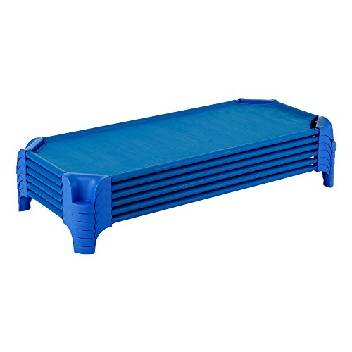 """Sprogs Deluxe Heavy Duty Toddler 40""""L Stackable Daycare Cot with Easy Lift Corners Cots for Preschool Kids Sleeping, Resting, and Naptime, SPG-16134-24PK, Blue (Pack of 24)"""