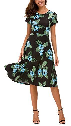 Vestido Estampado Floral de Mujer Cintura Alta Vestido a Media Pierna Manga Corta (L, 2)