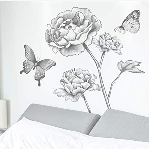 MLXZXQT Handgemalte Pfingstrose Wandaufkleber Wohnzimmer Vorraum Dekoration Selbstklebende Schlafzimmer Layout Tapete Wandbild 97 * 97 cm