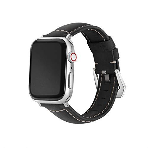 Correa de cuero para Apple Watch Band 44 mm 40 mm Serie 6 5 4 3 2 1 Piel de vaca hecha a mano para IWatch Band 38 mm 42 mm Pulsera de repuesto-Negro, 44 mm Para la serie 45