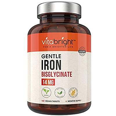 Gentle Iron Tablets 14mg - 180 Vegan Tablets (6 Month Supply of Iron Supplements) Gentle Iron Bisglycinate Chelate for Men & Women. 100% NRV Iron Pills for Tiredness & Fatigue, Blood & Immune System