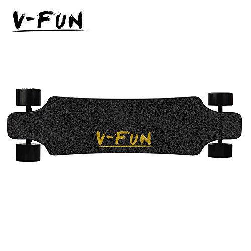 V-fun Skateboard électrique MIS à jour Version double moteur Brushless Moyeu Longboard mise à jour 5500 mAh batterie avec télécommande, noir