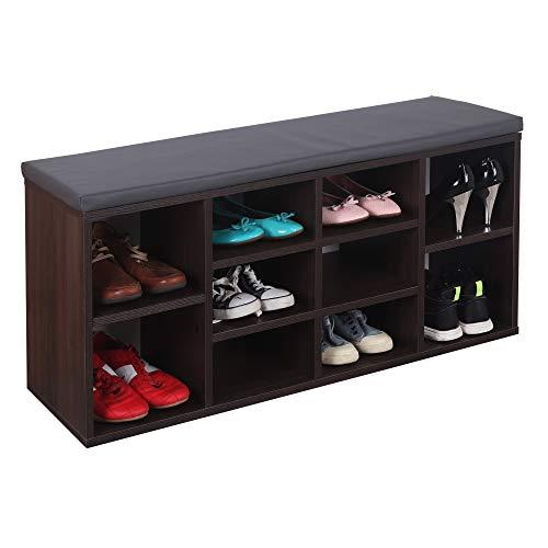 RICOO WM033-EB-A Schuhregal 104x49x30 cm Holz Dunkel-Braun Sitzbank mit Stauraum Schuhschrank mit Sitzkissen Schuhbank für Flur Schuhablage