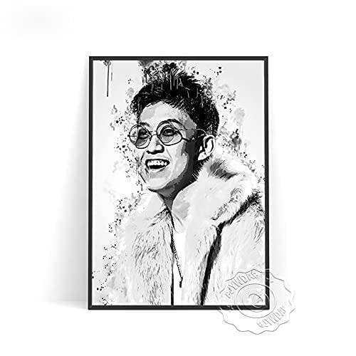 linbindeshoop Indonesia Singer Comedian Rich Chigga Black White Poster Rich Brian Fans Collect Art Prints Minimalism Boy Sketch Home Decor(LT-2943) 40x60cm No frame