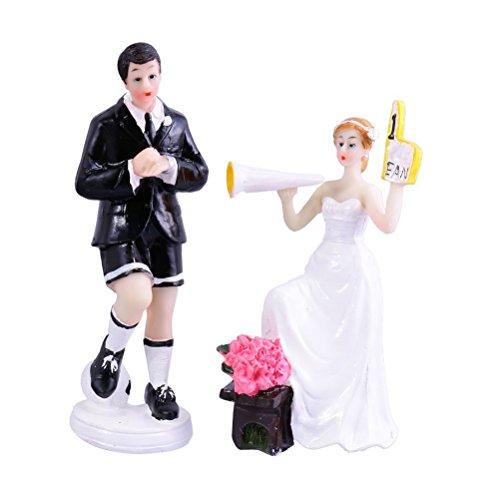 WINOMO Coppia di Sposa Sposo Figure Calcio Tema Matrimonio Torta Topper Decorazione